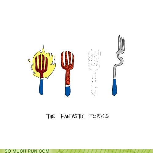 characters,comic,Fantastic Four,fighting,forks,noms,off-rhyme,superheroes