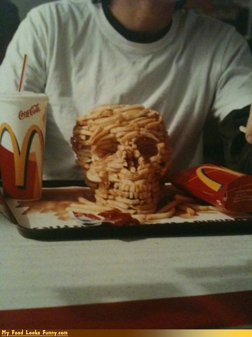 art,fries,McDonald's,sculpture,skull
