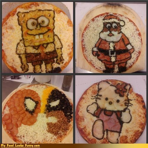 cartoons comics drawings hello kitty pictures pizza Spider-Man SpongeBob SquarePants toppings