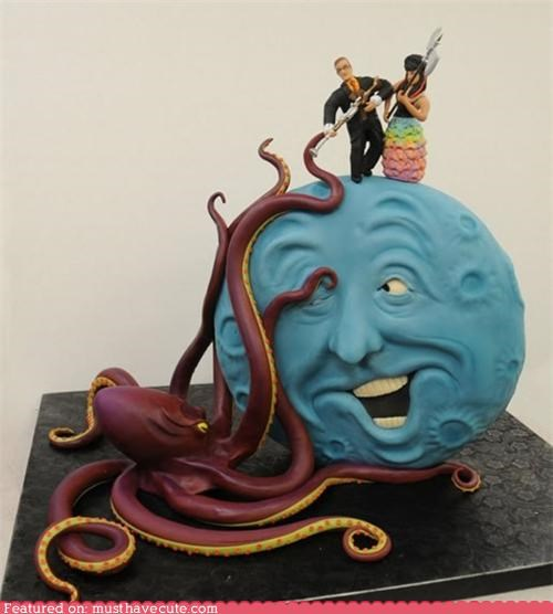 cake,epicute,fondant,jules verne,moon,octopus,wedding