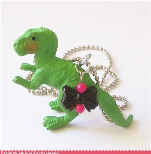 accessory bow chain dinosaur necklace pendant t rex - 4343489792