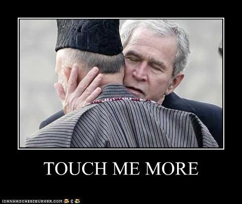 gay,george w bush,hug,president,sexy,touching