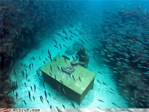 awesome,desk,fish,Office,under water