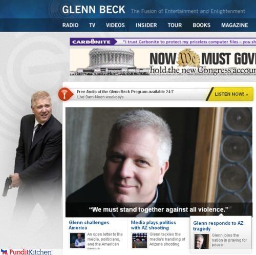 glenn beck,guns,idiot,juxtaposition,pundit,violence
