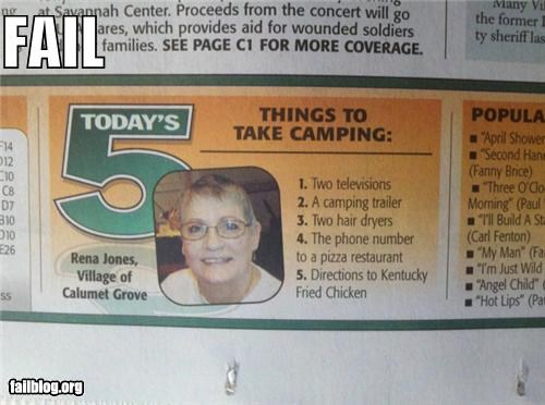 camping failboat newspaper over doing it pizza supplies