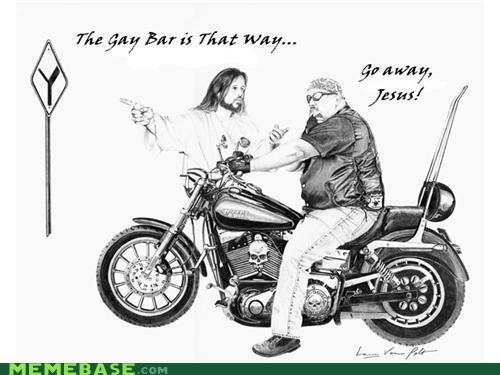 bikers gay bar LOL Jesus not all gay - 4344536320