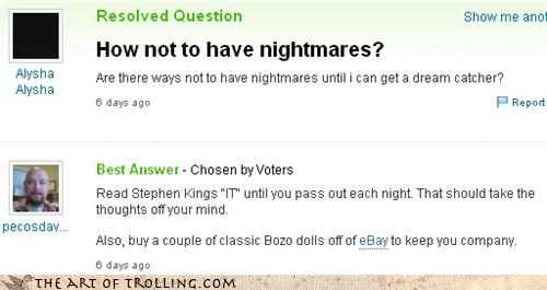 nightmares,stephen king,yahoo answers