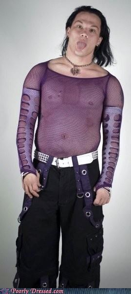 mesh shirt,metal,purple,tripp pants