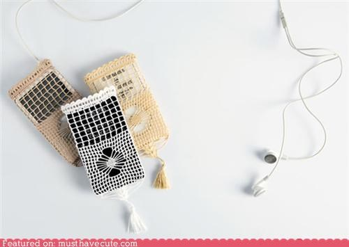 case,cover,doily,grandma,ipod,lace,old fashioned