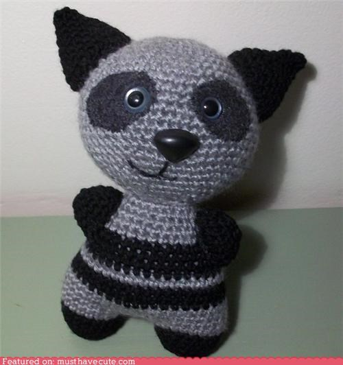 charity crochet Plush raccoon smile toy