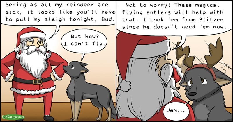 Cute christmas comic from Kat Racoon, behind the gifs.