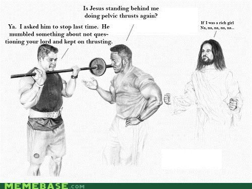 gym,LOL Jesus,pelvic thrust,weights,working it,working out