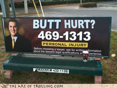 Ad bench butt hurt injury IRL lawyer
