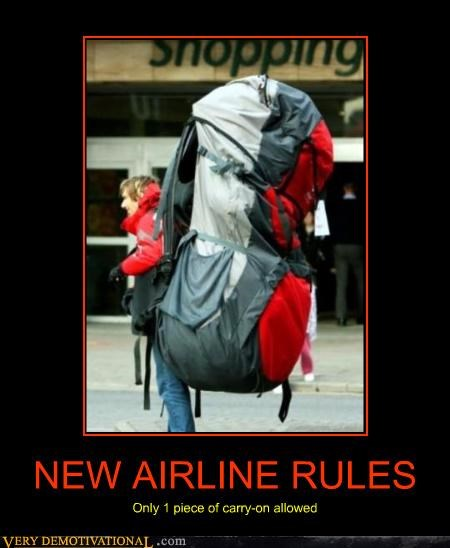 airlines backpack idiots jerk overkill rules Travel
