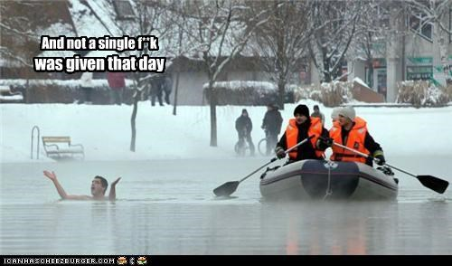 bad ass,boat,cold,dont-care,Like a Boss,raft,rescue,swimming,winter