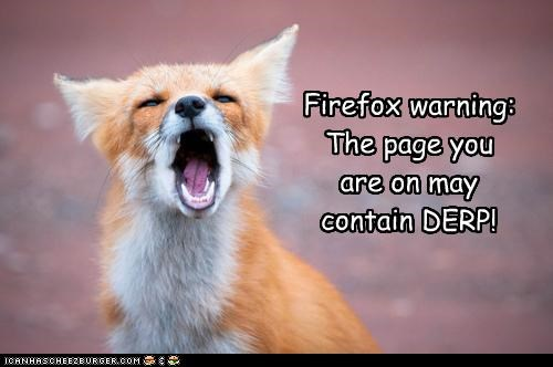 critters,error,firefox,fox,internet explorer,pages,warning