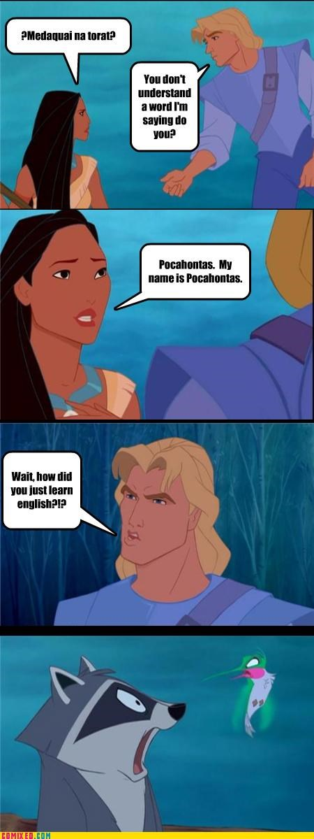 cartoons,differences,disney,language,mel gibson,pocahontas
