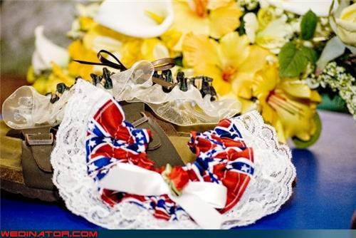 Birkenstocks,bride,confederare flag garter,confusing,fashion is my passion,funny garter picture,funny wedding photos,hippie redneck,redneck bride,redneck garter,Wedding Themes,white trash wedding,wtf,wtf is this