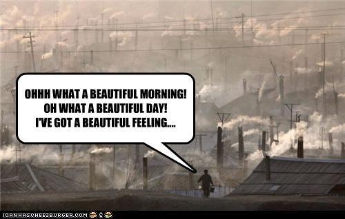 global warming happy juxtaposition pollution singing smoke - 4348381184