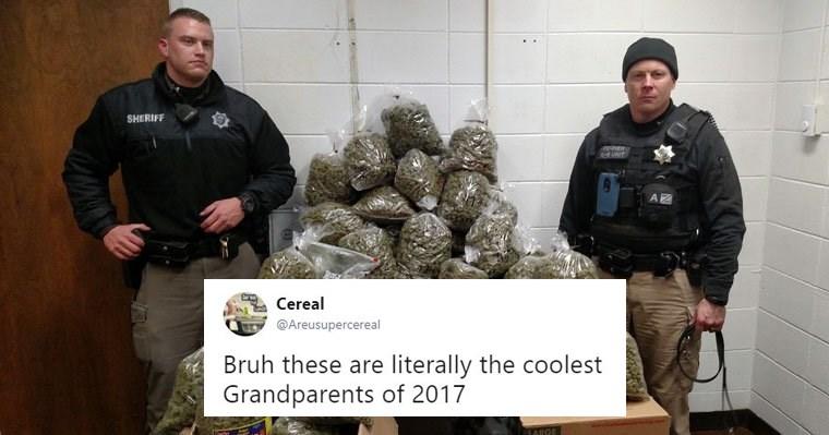 Funny tweets about elderly couple caught with 60 lbs of marijuana in nebraska.