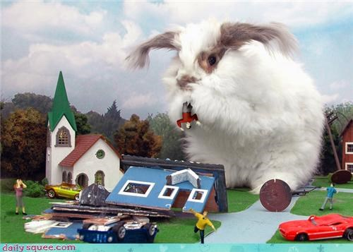 bunnies bunny bunzilla giant godzilla happy bunday massacre scary squee - 4349226752