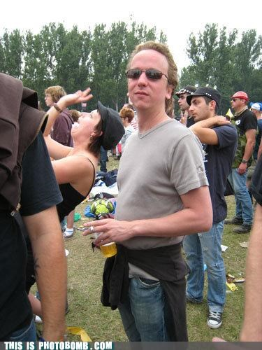 beer,concert,outdoors,photobomb,wtf