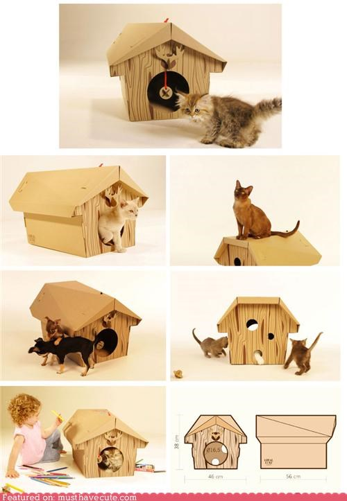 cardboard cat chalet house pets - 4349569280