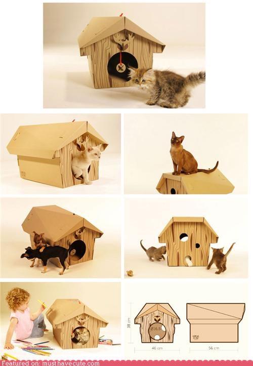 cardboard cat chalet house pets - 4349569280