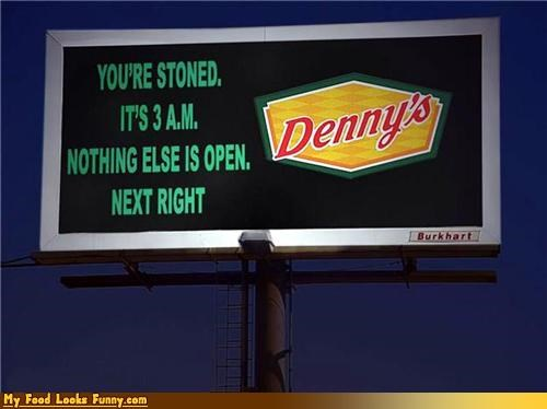 billboard dennys highway open sign stoned