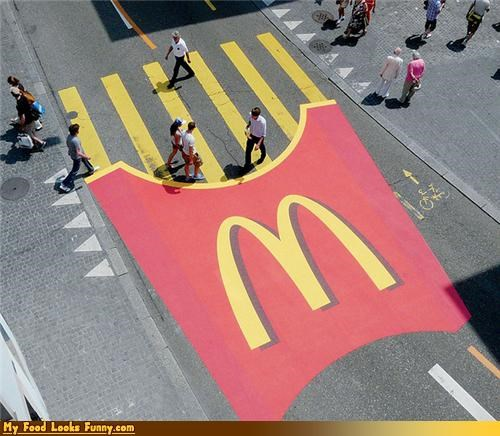 crosswalk french fries fries McDonald's mcdonalds-fries sides street - 4350095104