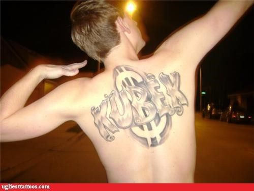 money tattoos back tats