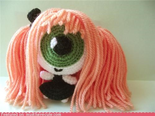 Amigurumi crochet cyclops doll eyeball hat