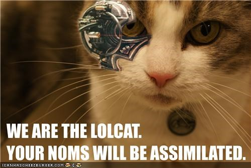 assimilation caption captioned cat cyborg laser sight monocle noms proclamation robot threat weapon