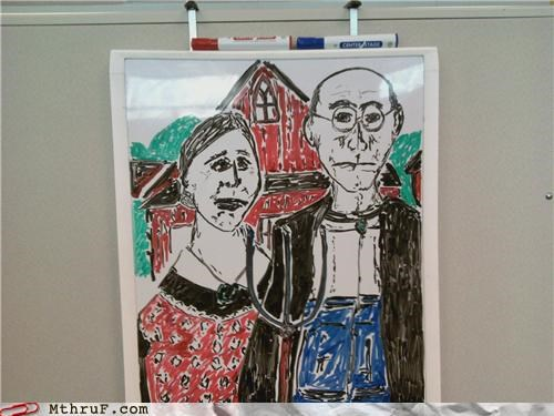 american gothic,art,dry erase,whiteboard