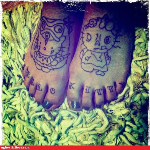 feet,hello kitty,tattoos