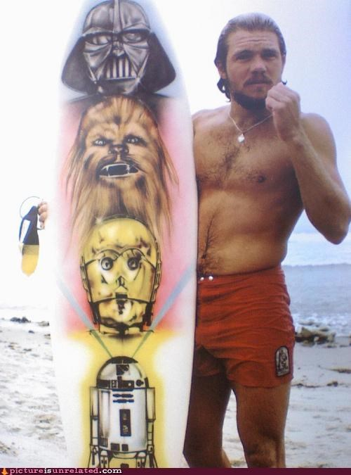 awesome beach cool guy star wars surfboard wtf