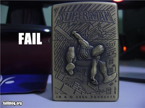Brand Name FAILs,classic,failboat,fire,g rated,knock off,lighter,Spider-Man,superheroes,superman