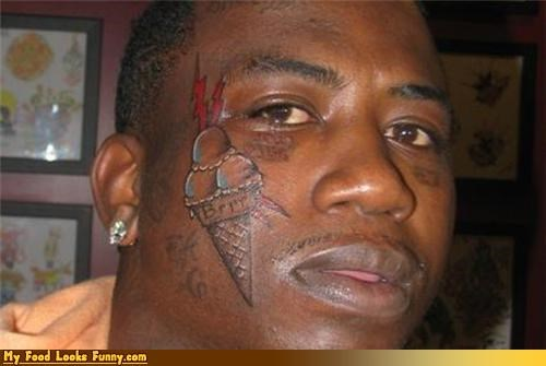 celeb,face,face tattoo,gucci mane,ice cream,rap,rapper,scoops,Sweet Treats,tattoo