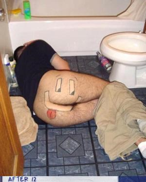 bathroom,booty,passed out,shaved,smiley face