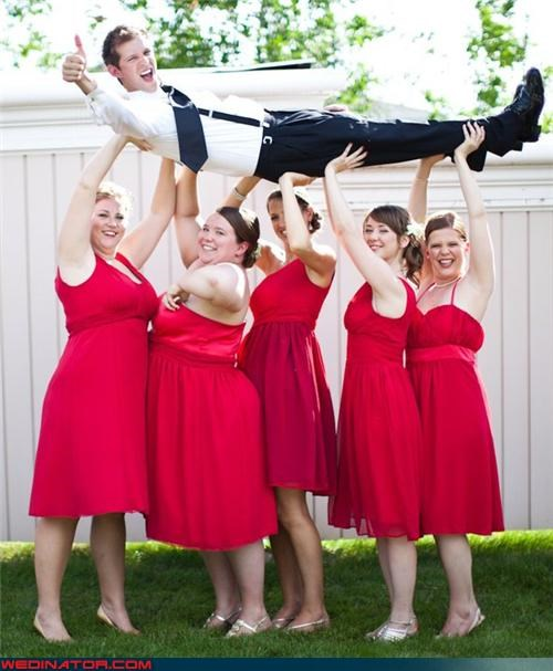 bridesmaids carrying groom,cheesy groom picture,cheesy wedding photo,fashion is my passion,funny bridesmaids picture,funny groom picture,funny wedding photos,groom,matching bridesmaids,stanley cup,technical difficulties,thumbs up,wedding party
