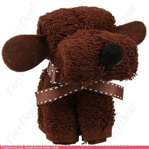 folded puppy washcloth - 4354156032