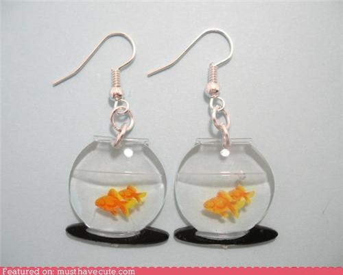 earrings,fish bowls,goldfish,Jewelry