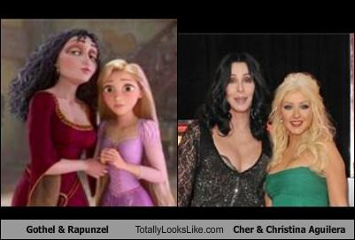 burlesque,cher,christina aguilera,gothel,Hall of Fame,rapunzel,tangled
