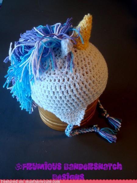 cap crochet hat horn mane unicorn yearn - 4355847168