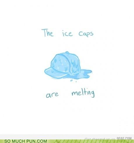 cap,caps,climate change,hat,ice,ice caps,literalism,melting