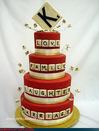 awesome wedding cake bride creative wedding cake Dreamcake funny wedding photos groom scrabble themed wedding cake scrabble wedding cake Sheer Awesomeness sheer awesomeness wedding cake Wedding Themes - 4355896064