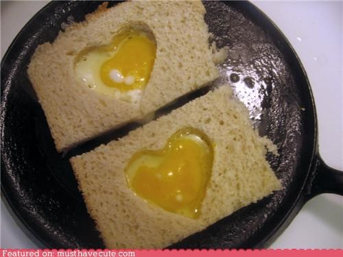 bread,eggs,eggs in a basket,epicute,heart,pan,toast