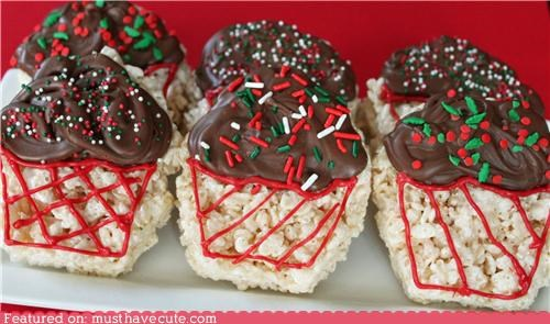chocolate cupcakes epicute frosting holiday rice krispy treats sprinkles
