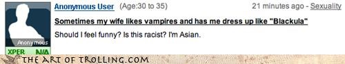asian black racism vampires Yahoo Answer Fails yellow - 4356243712