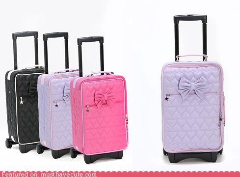bow,girly,luggage,rolling suitcase,Travel